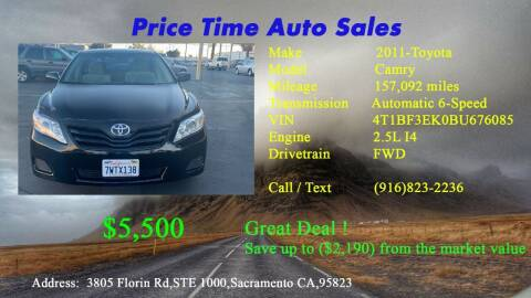 2011 Toyota Camry for sale at PRICE TIME AUTO SALES in Sacramento CA