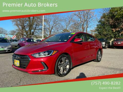 2018 Hyundai Elantra for sale at Premier Auto Brokers in Virginia Beach VA