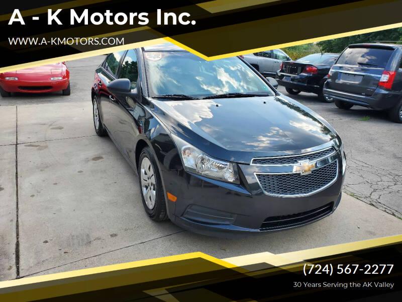 2013 Chevrolet Cruze for sale at A - K Motors Inc. in Vandergrift PA