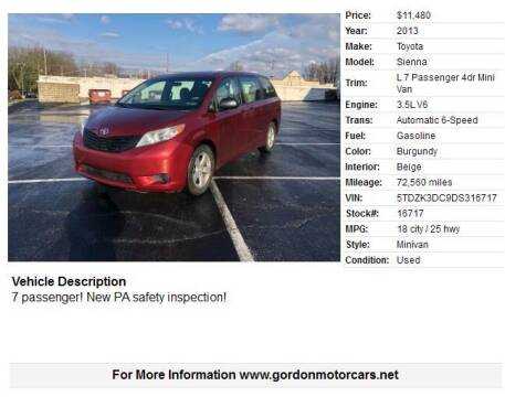 2013 Toyota Sienna for sale at Gordon Motor Cars, LLC in Frazer PA