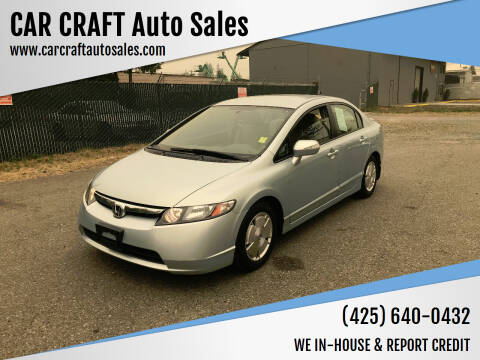 2007 Honda Civic for sale at Car Craft Auto Sales Inc in Lynnwood WA