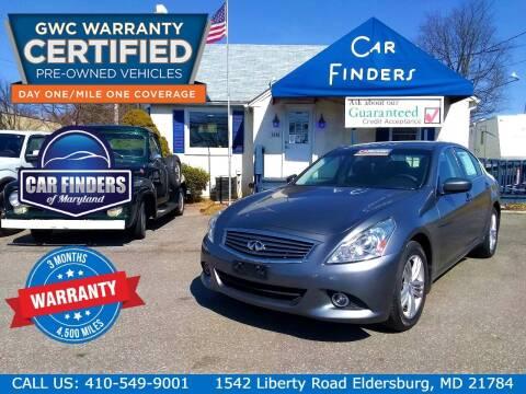 2013 Infiniti G37 Sedan for sale at CAR FINDERS OF MARYLAND LLC - Certified Cars in Eldersburg MD