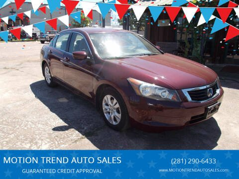 2009 Honda Accord for sale at MOTION TREND AUTO SALES in Tomball TX