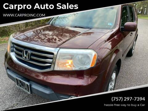 2012 Honda Pilot for sale at Carpro Auto Sales in Chesapeake VA