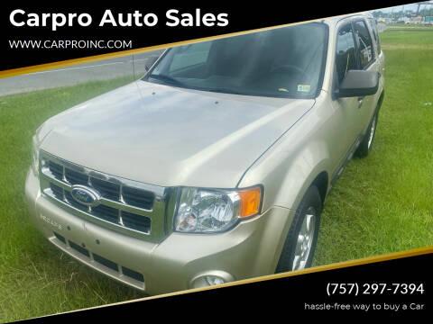 2012 Ford Escape for sale at Carpro Auto Sales in Chesapeake VA