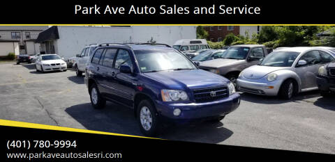 2003 Toyota Highlander for sale at Park Ave Auto Sales and Service in Cranston RI