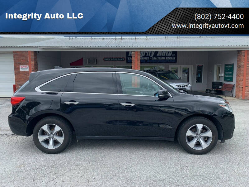 2015 Acura MDX for sale at Integrity Auto LLC - Integrity Auto 2.0 in St. Albans VT