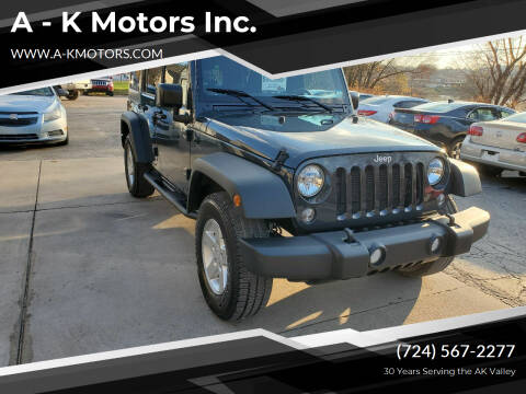 2016 Jeep Wrangler Unlimited for sale at A - K Motors Inc. in Vandergrift PA