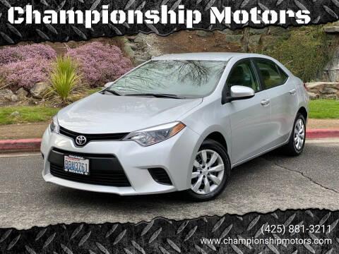 2014 Toyota Corolla for sale at Championship Motors in Redmond WA