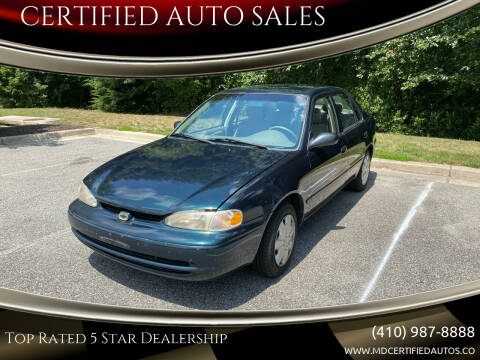 1999 Chevrolet Prizm for sale at CERTIFIED AUTO SALES in Severn MD