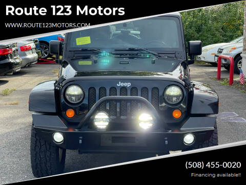 2012 Jeep Wrangler Unlimited for sale at Route 123 Motors in Norton MA