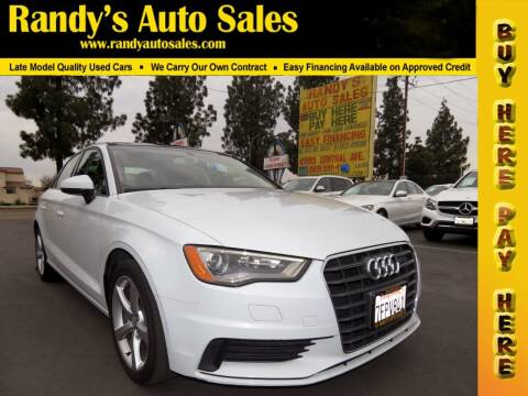 2015 Audi A3 for sale at Randy's Auto Sales in Ontario CA