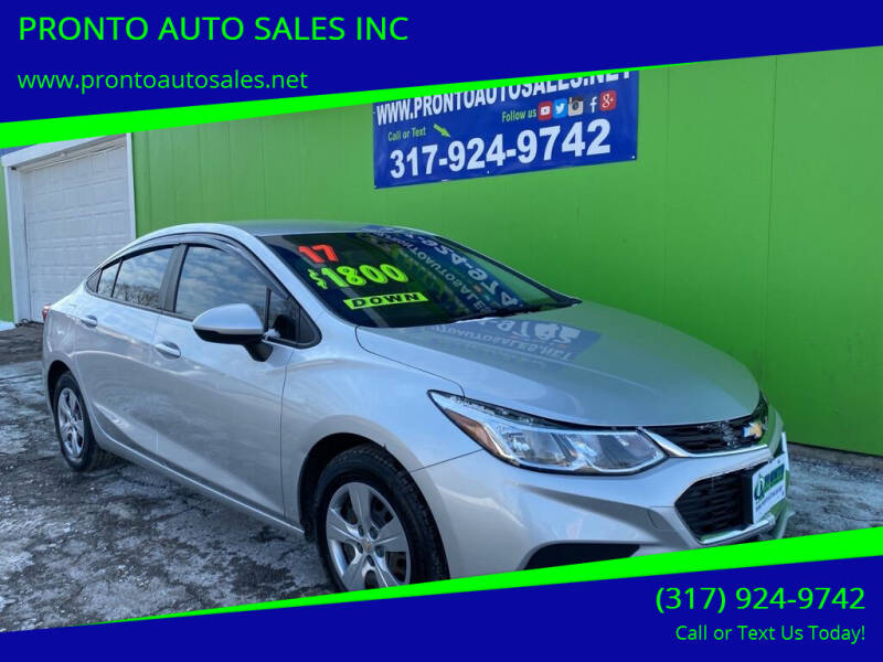 2017 Chevrolet Cruze for sale at PRONTO AUTO SALES INC in Indianapolis IN