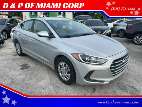 2017 Hyundai Elantra for sale at D & P OF MIAMI CORP in Miami FL