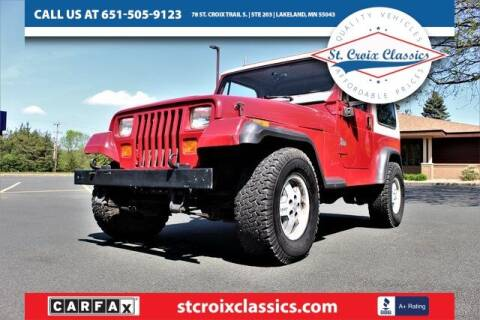 1991 Jeep Wrangler for sale at St. Croix Classics in Lakeland MN