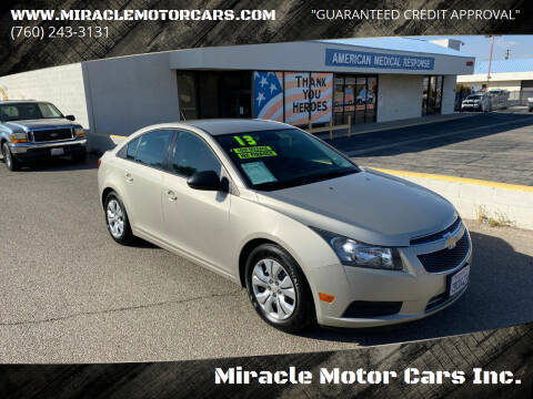 2013 Chevrolet Cruze for sale at Miracle Motor Cars Inc. in Victorville CA