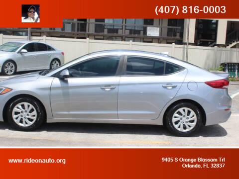 2017 Hyundai Elantra for sale at Ride On Auto in Orlando FL