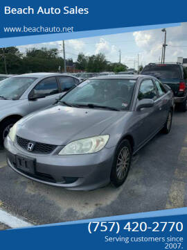 2005 Honda Civic for sale at Beach Auto Sales in Virginia Beach VA