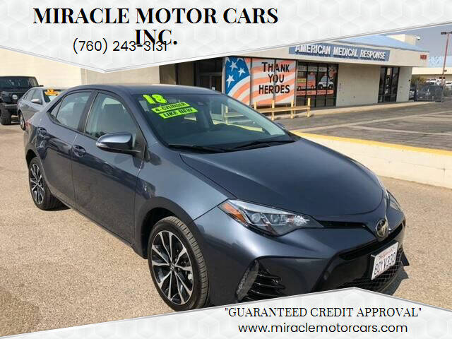 2018 Toyota Corolla for sale at Miracle Motor Cars Inc. in Victorville CA