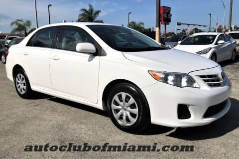 2013 Toyota Corolla for sale at AUTO CLUB OF MIAMI, INC in Miami FL