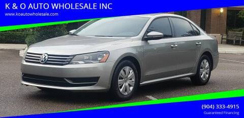2012 Volkswagen Passat for sale at K & O AUTO WHOLESALE INC in Jacksonville FL