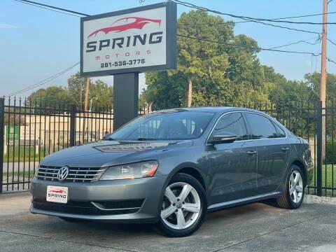 2012 Volkswagen Passat for sale at Spring Motors in Spring TX