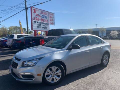2015 Chevrolet Cruze for sale at 1st Choice Auto Sales in Newport News VA