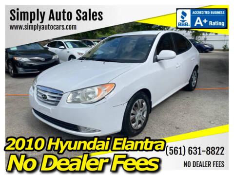 2010 Hyundai Elantra for sale at Simply Auto Sales in Palm Beach Gardens FL