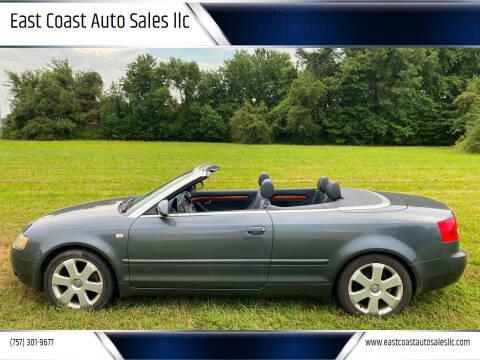 2003 Audi A4 for sale at East Coast Auto Sales llc in Virginia Beach VA