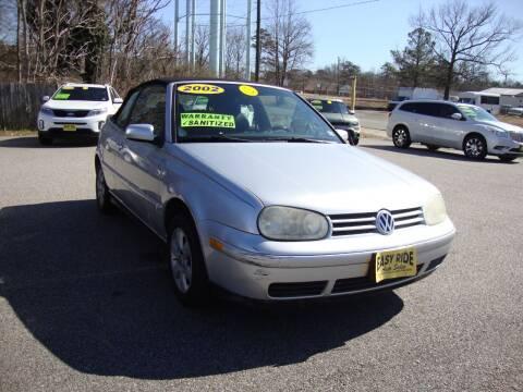 2002 Volkswagen Cabrio for sale at Easy Ride Auto Sales Inc in Chester VA