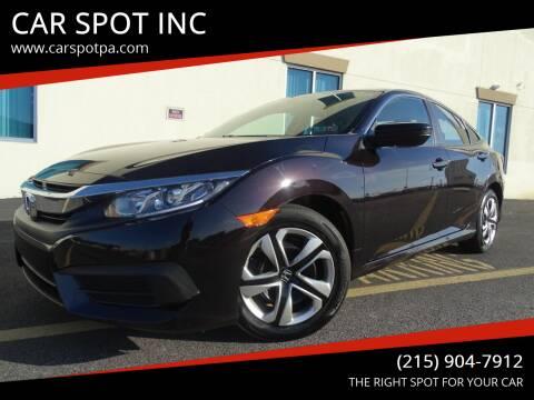 2016 Honda Civic for sale at CAR SPOT INC in Philadelphia PA
