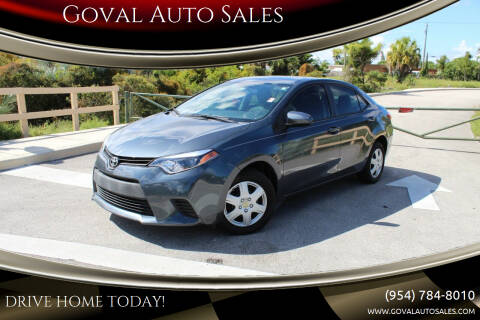 2016 Toyota Corolla for sale at Goval Auto Sales in Pompano Beach FL