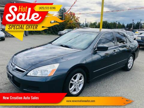2007 Honda Accord for sale at New Creation Auto Sales in Everett WA