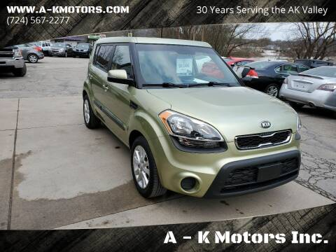 2013 Kia Soul for sale at A - K Motors Inc. in Vandergrift PA