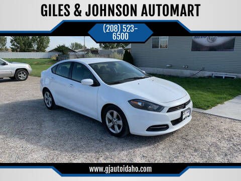2016 Dodge Dart for sale at GILES & JOHNSON AUTOMART in Idaho Falls ID