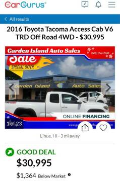 2016 Toyota Tacoma for sale at Garden Island Auto Sales in Lihue HI
