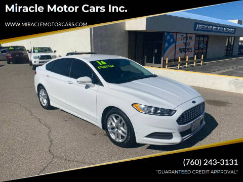 2016 Ford Fusion for sale at Miracle Motor Cars Inc. in Victorville CA