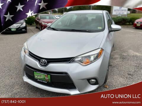 2015 Toyota Corolla for sale at Auto Union LLC in Virginia Beach VA