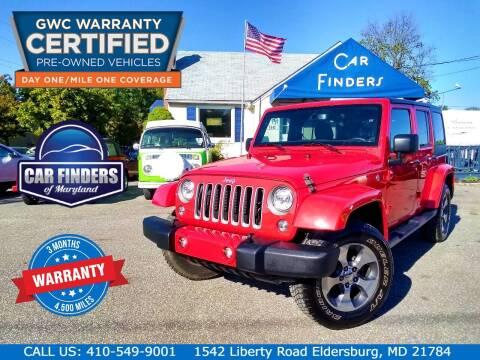 2018 Jeep Wrangler JK Unlimited for sale at CAR FINDERS OF MARYLAND LLC - Certified Cars in Eldersburg MD