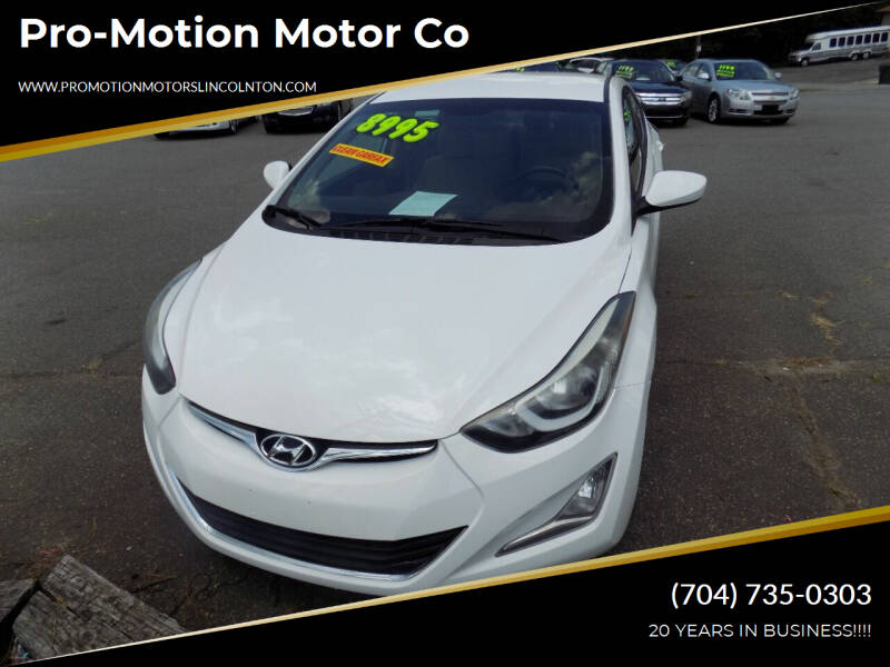 2014 Hyundai Elantra for sale at Pro-Motion Motor Co in Lincolnton NC