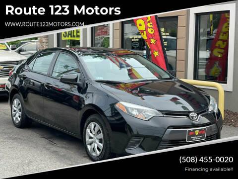 2015 Toyota Corolla for sale at Route 123 Motors in Norton MA