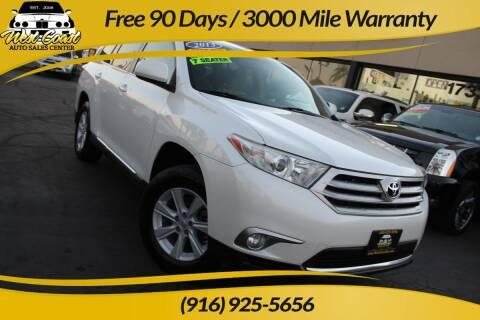 2013 Toyota Highlander for sale at West Coast Auto Sales Center in Sacramento CA