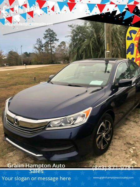 2017 Honda Accord for sale at Gralin Hampton Auto Sales in Summerville SC