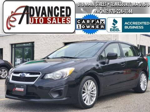 2013 Subaru Impreza for sale at Advanced Auto Sales in Tewksbury MA