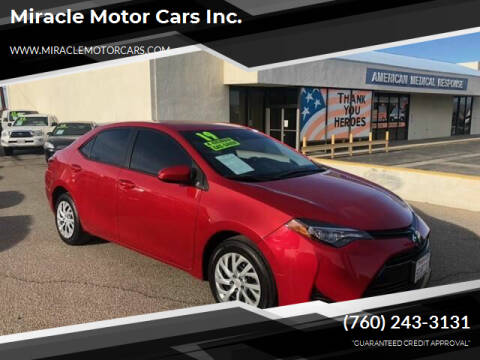 2019 Toyota Corolla for sale at Miracle Motor Cars Inc. in Victorville CA