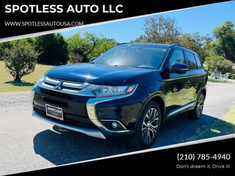 2016 Mitsubishi Outlander for sale at SPOTLESS AUTO LLC in San Antonio TX
