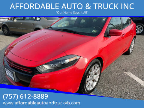 2013 Dodge Dart for sale at AFFORDABLE AUTO & TRUCK INC in Virginia Beach VA