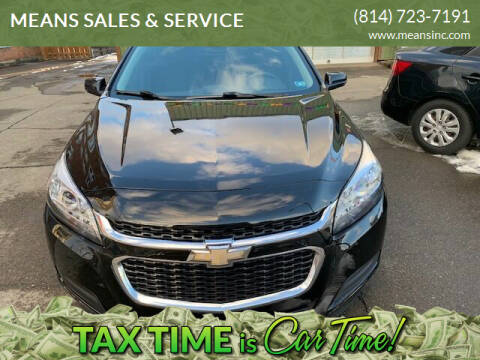 2014 Chevrolet Malibu for sale at MEANS SALES & SERVICE in Warren PA