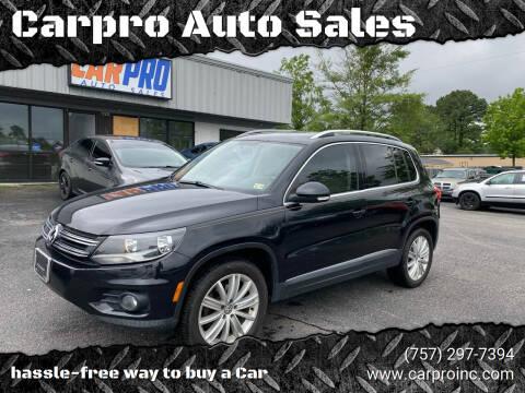2012 Volkswagen Tiguan for sale at Carpro Auto Sales in Chesapeake VA