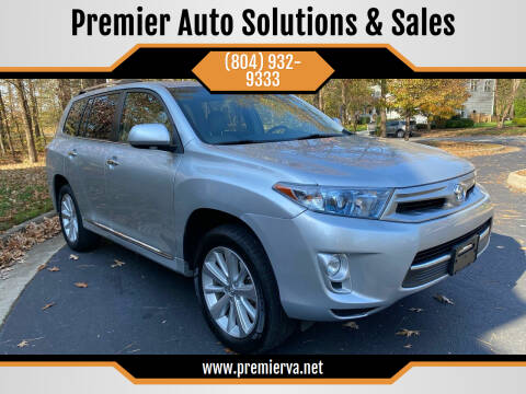 2013 Toyota Highlander Hybrid for sale at Premier Auto Solutions & Sales in Quinton VA